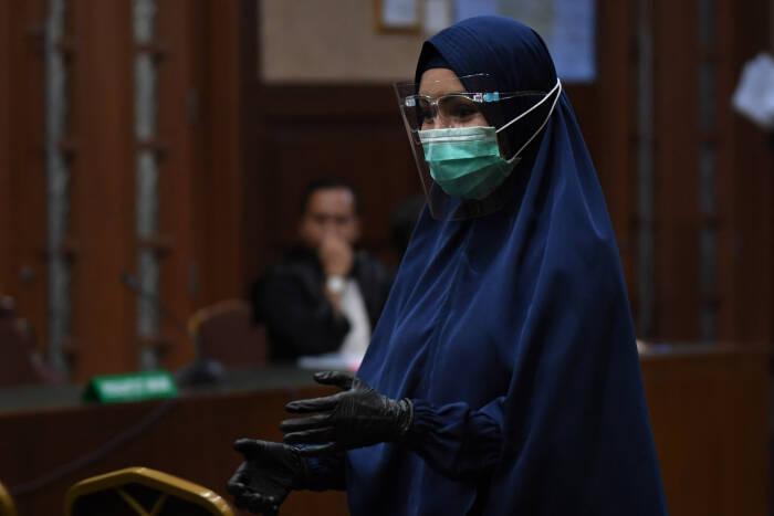 Jaksa Pinangki dalam persidangan di Pengadilan Tipikor. (ANTARA)