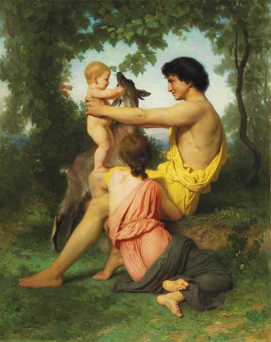 Ilustrasi Paris, Oenone dan anak mereka Corythus.