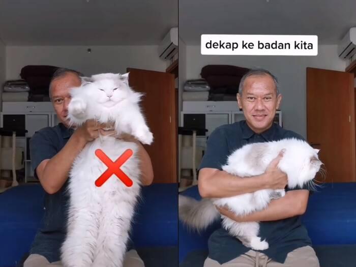 Cuplikan video saat pria yang membagikan tips cara menggendong kucing supaya nyaman. (photo/TikTok/@kucingomwepe)