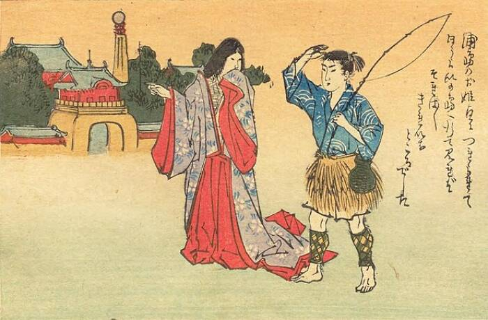 Ilustrasi Urashima Taro dan putri Otohime.