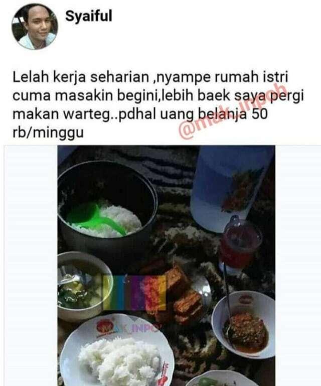 Suami protes istri hanya masak tempe dengan uang belanja Rp50 ribu