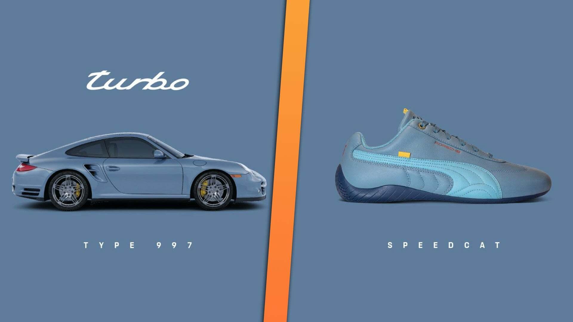 Tampilan mobil Porsche 911 Turbo dan sepatu hasil kolaborasi dengan Puma
