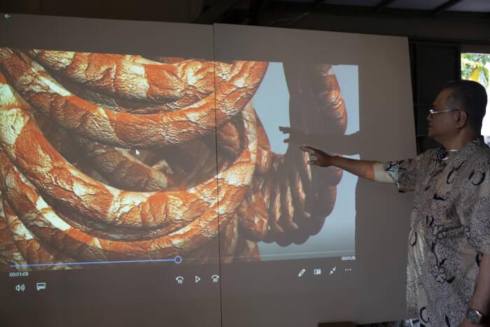 Perupa Krishna Eta berdiri di depan karya seni video digital
