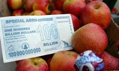 Uang kertas $ 100 miliar Zimbabwe.
