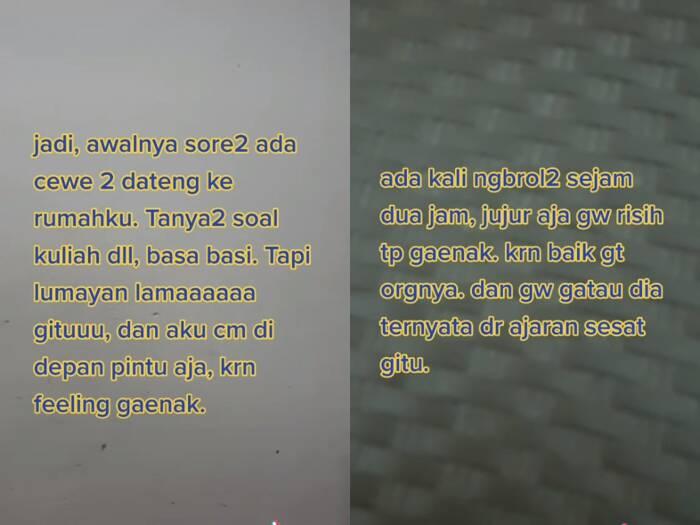 Cuplikan video cewek yang menceritakan pengalaman diteror aliran sesat. (photo/TikTok/@raainbowdust)