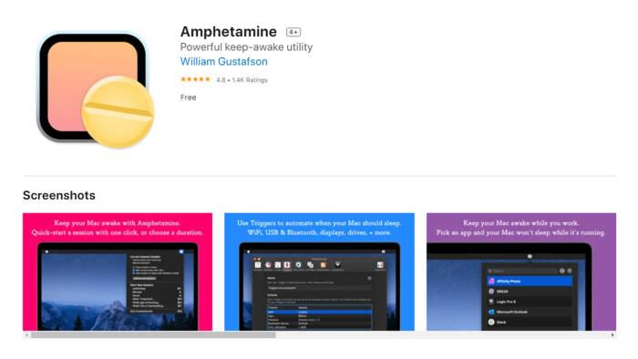 Tampilan aplikasi Amphetamine di Mac App Store