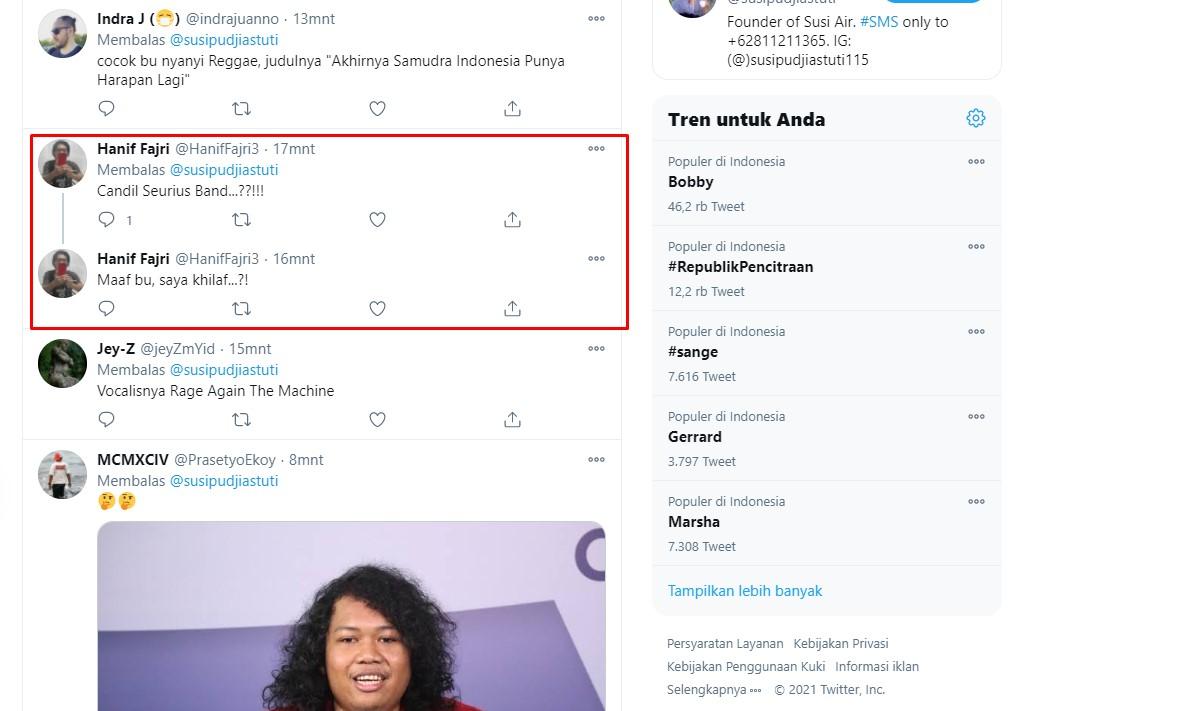 Komentar netizen pada postingan Susi. / twitter