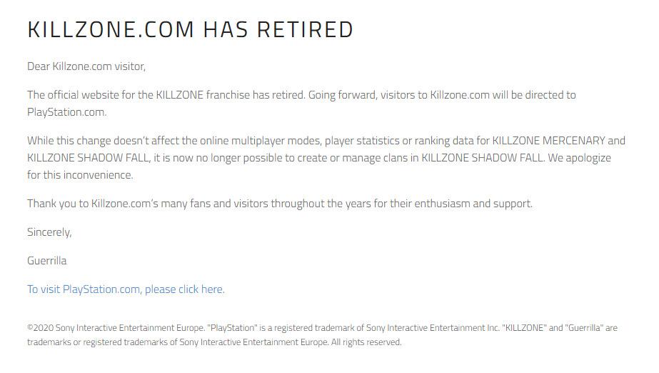 Pengumuman Guerrilla Games terkait penutupan situs Killzone