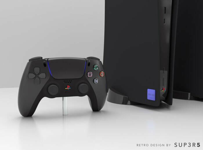 Tampilan console PlayStation 5 edisi retro berwarna hitam