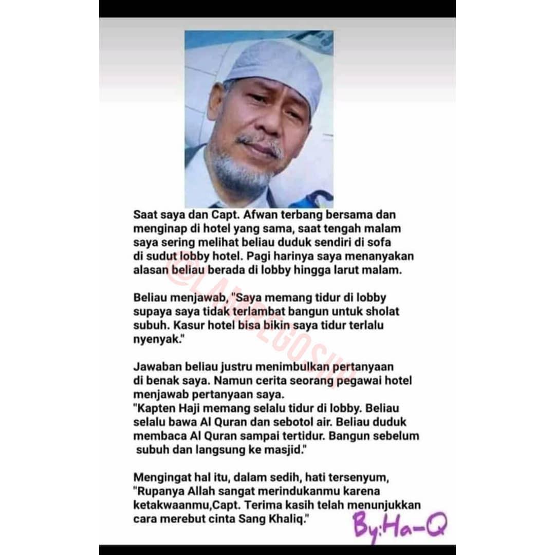 Cerita yang viral mengenai Captain Afwan, pilot Sriwijaya Air SJ182 yang jatuh. (photo./Istimewa)