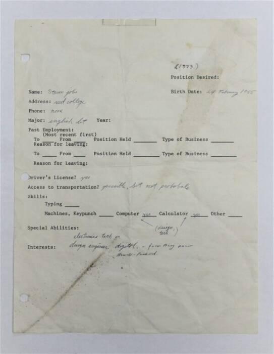Foto surat lamaran dari pendiri Apple, Steve Jobs di tahun 1973