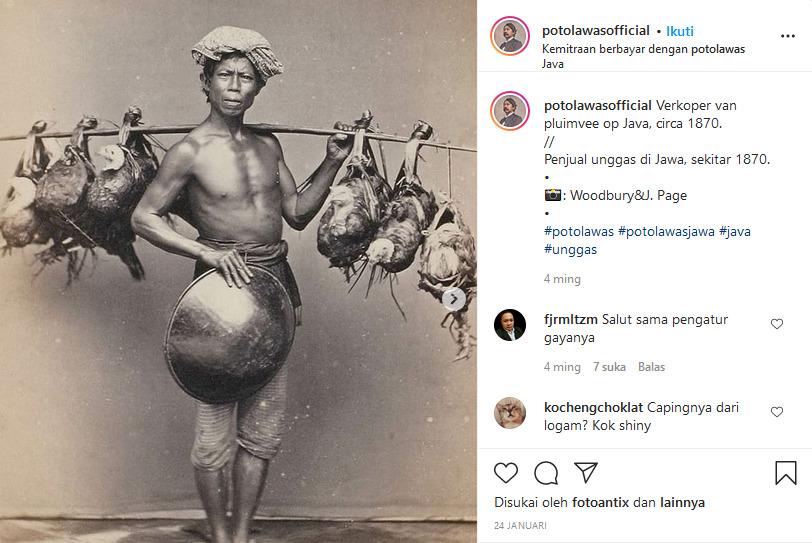 foto jadul penjual ayam